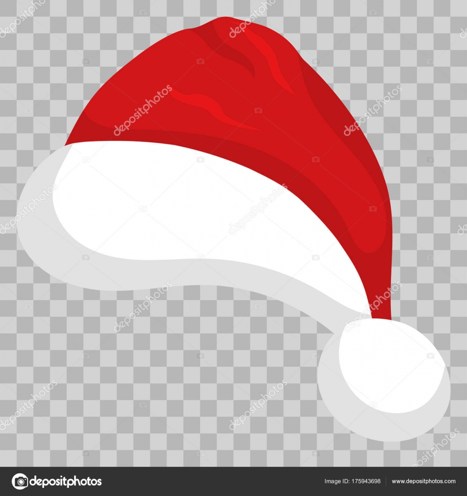 Bonnet de Noel isolé sur fond transparent. Happy New Year, modèle de Merry  Christmas. Coiffe de bande dessinée rouge. Vector \u2014 Vecteur par ambassador80