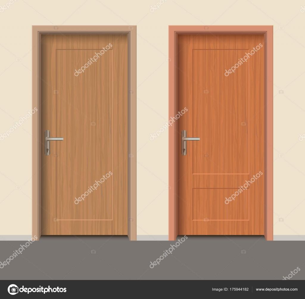 Hölzerne Tür-Set, Schloß innen Wohnung Tür mit Eisen Scharniere ...