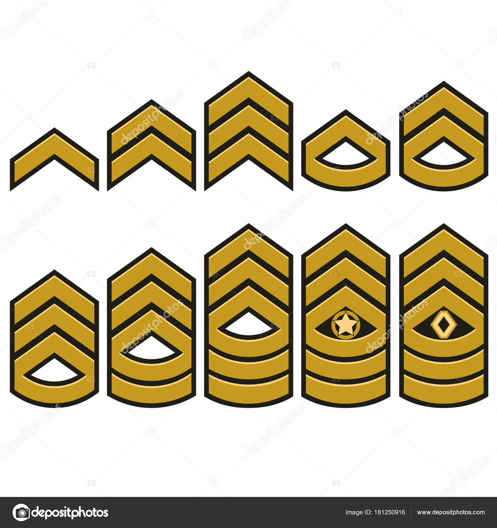 Military Ranks Set Army Patches Vector Stock Vector