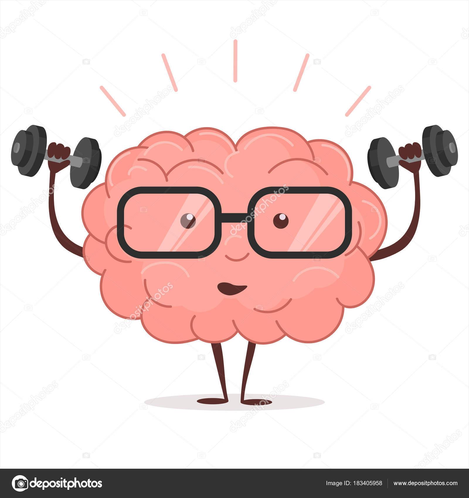 Entrenamiento cerebral con pesas y gafas. Vector de — Archivo ...
