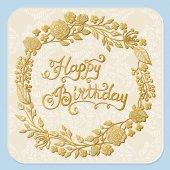 Vektor ručně tažené design blahopřání k narozeninám s květinový věnec na bílém pozadí.