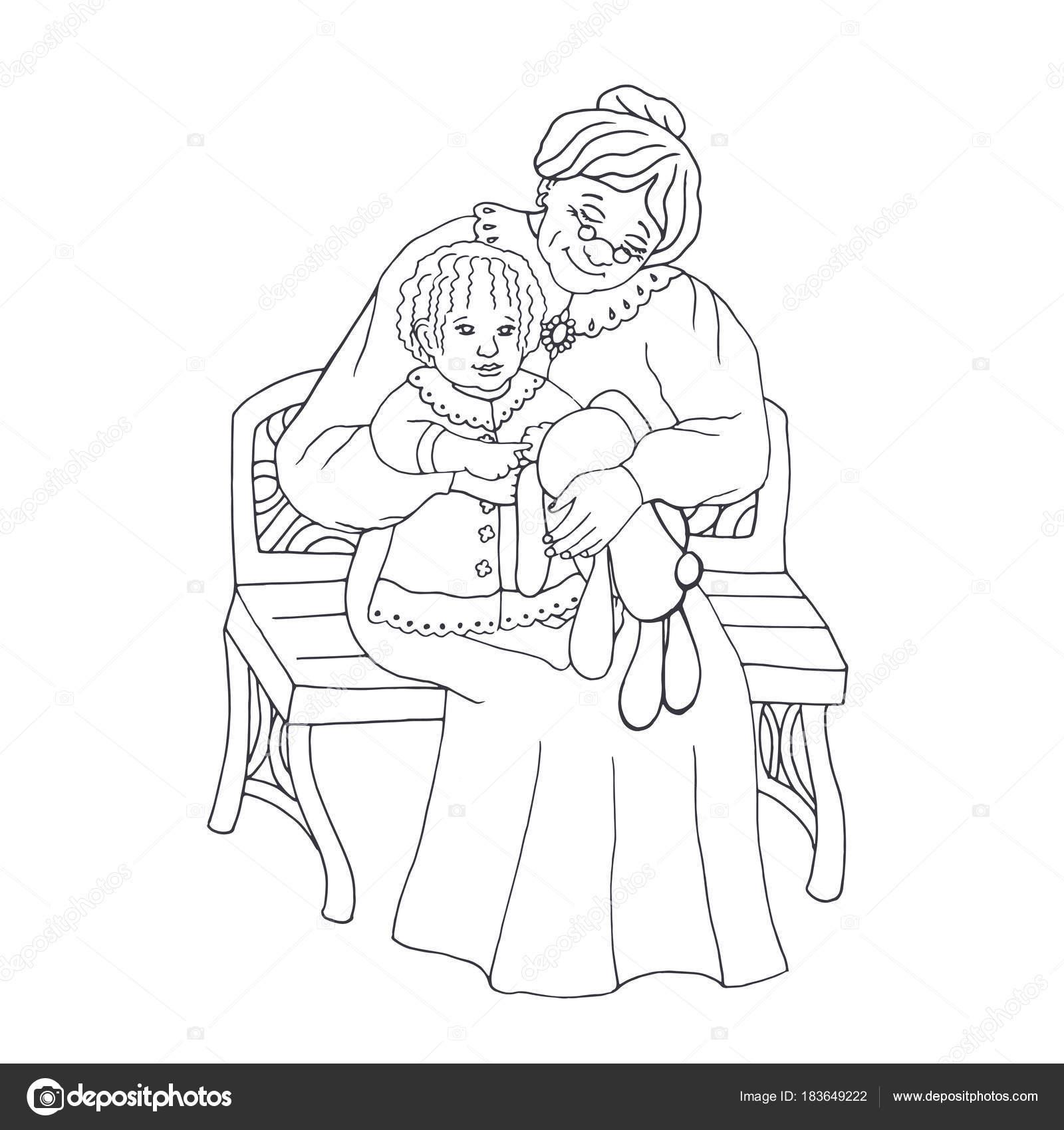 Imágenes Del Abuelo Para Colorear Abuelos Con Nieta Ilustración