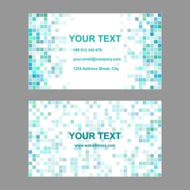 Cyan square mosaic business card template design