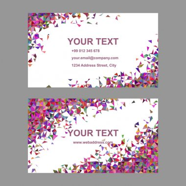 Multicolor chaotic triangle business card design