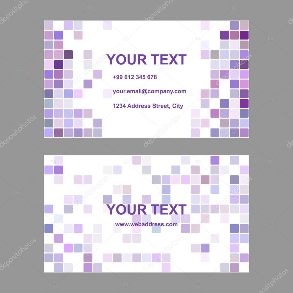 Purple square design business card template