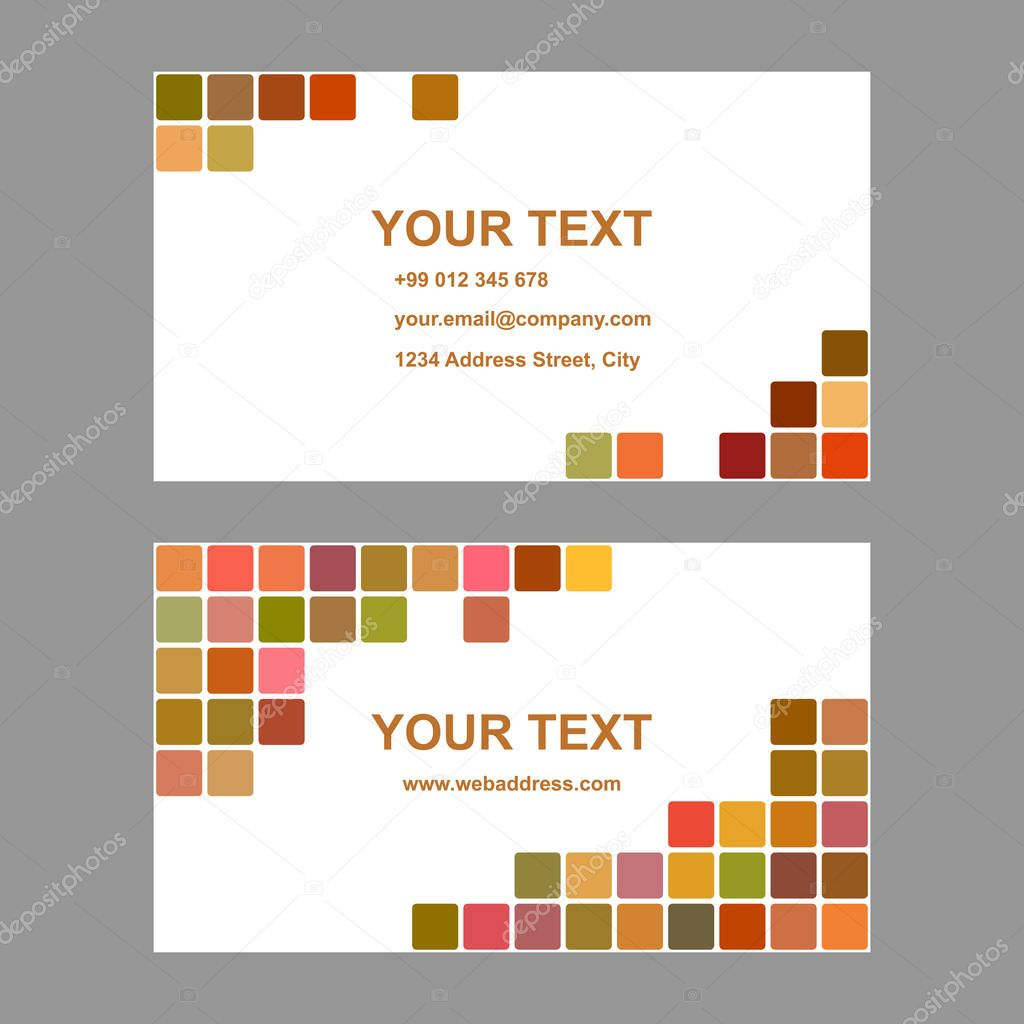 colored square design business card template stock vector
