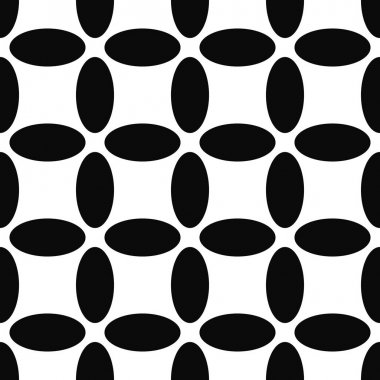 Seamless abstract black and white ellipse pattern background clip art vector