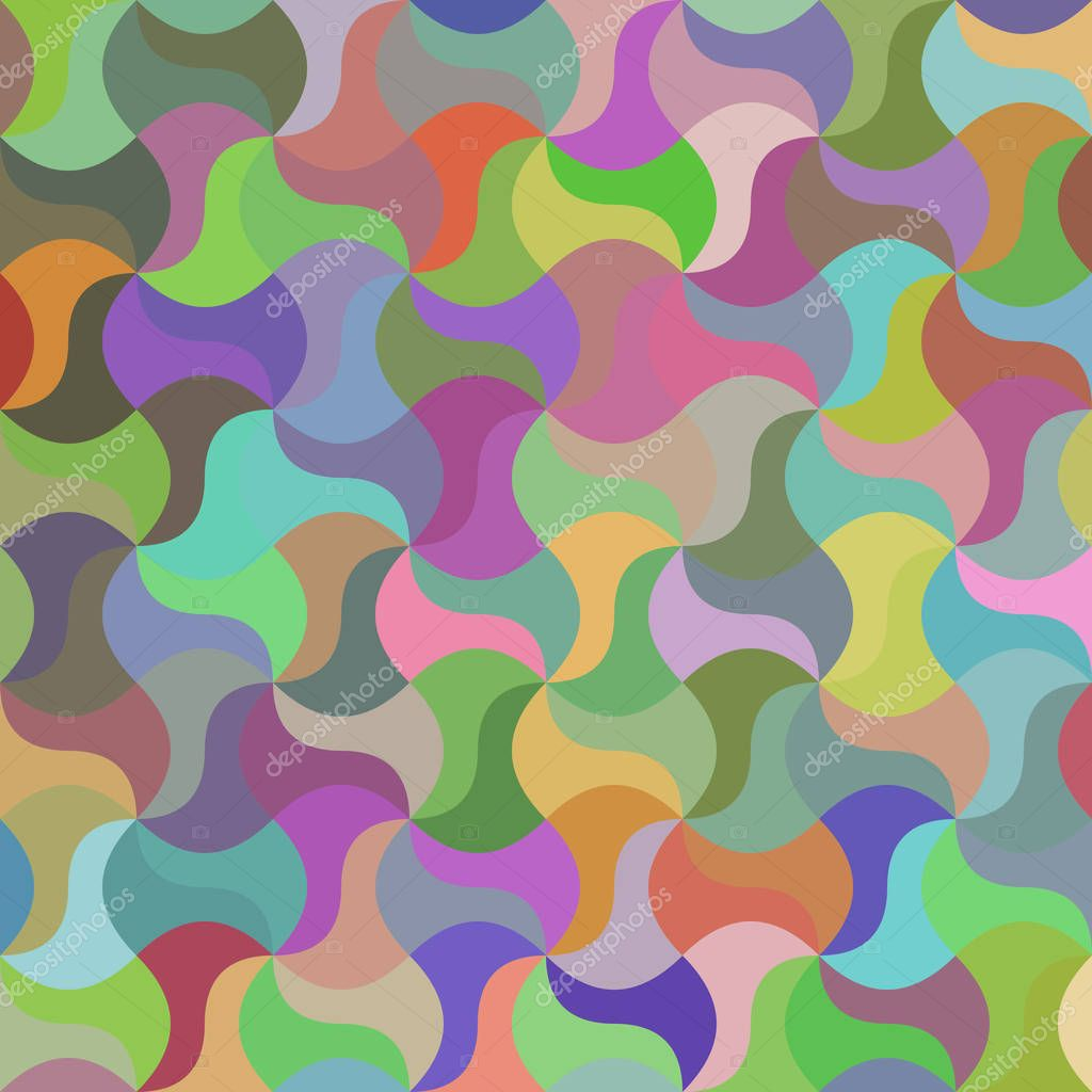 Multicolored curved mosaic pattern background
