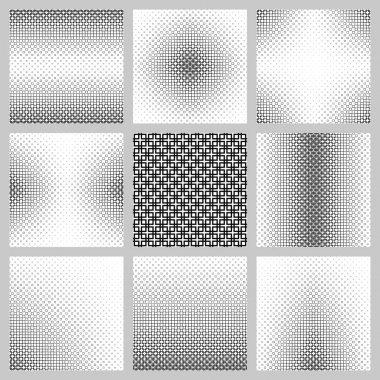 Black and white square pattern design set
