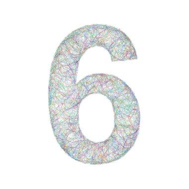 Colorful sketch font design - number 6
