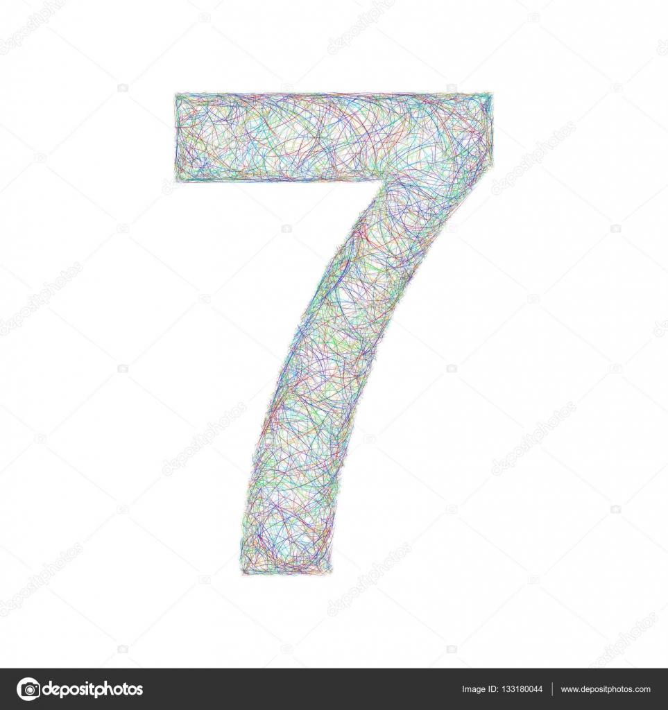 Colorful Sketch Font Design Number 7 Stock Vector C Davidzydd