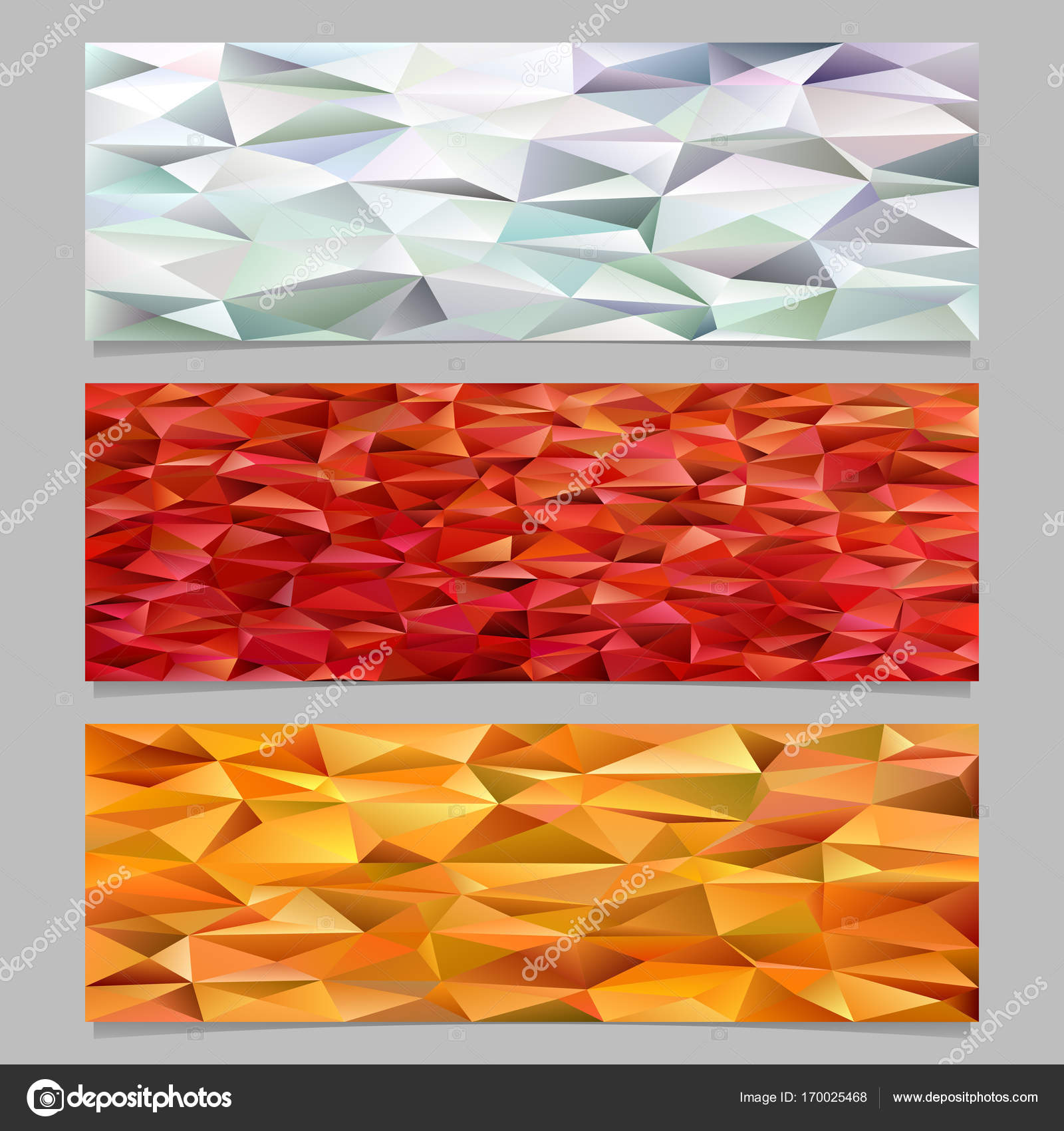 abstract triangle polygon pattern mosaic banner template background set trendy vector illustrations from colored irregular triangles vector by davidzydd