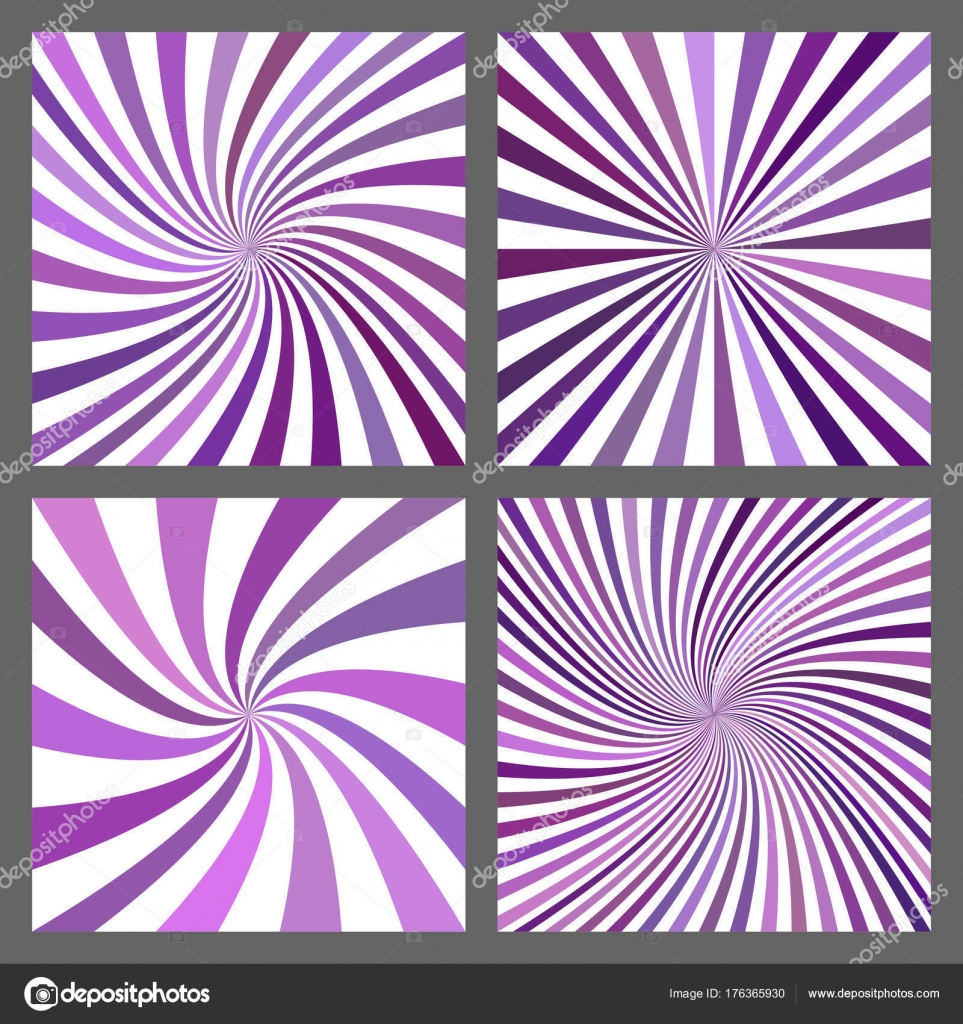purple spiral ray and starburst background set stock vector