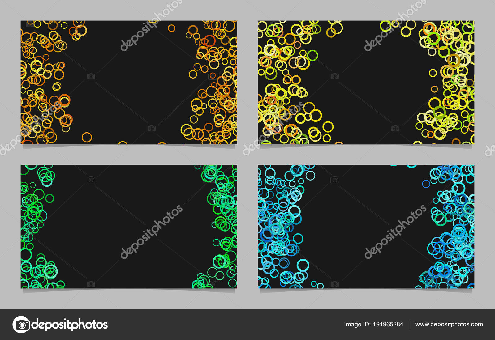 Abstract Card Background Template Set With Colroed Circles Stock