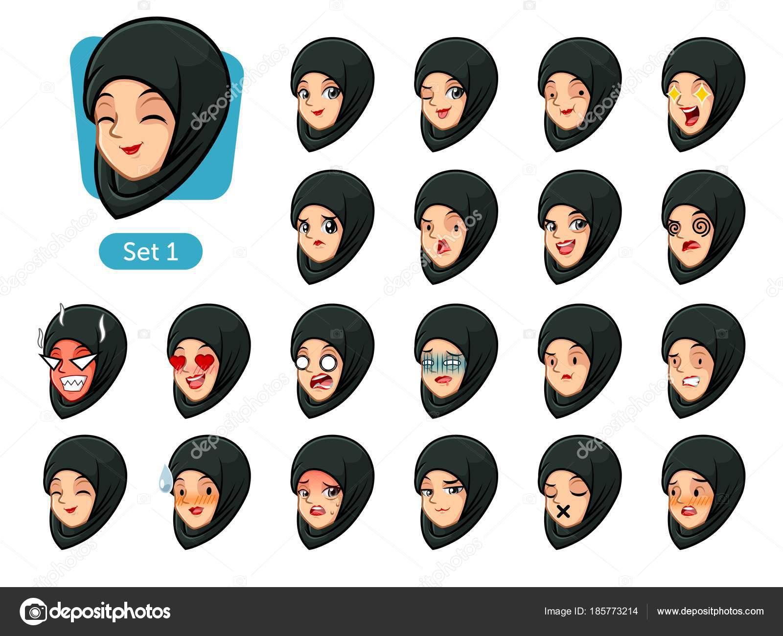 Premier Jeu Femme Musulmane Portant Hijab Noir Dessin Anime Avatars