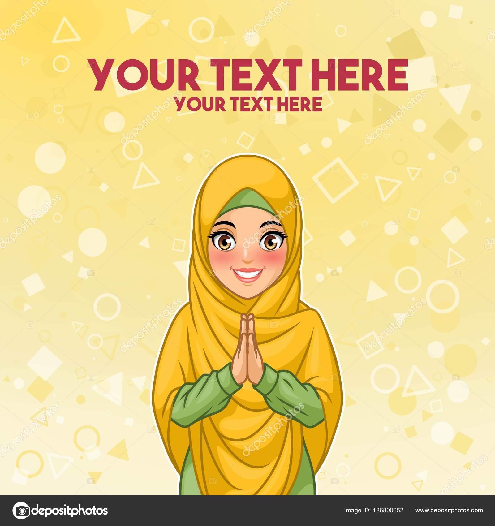 若いイスラム教徒の女性着用ヒジャーブ ベール笑顔挨拶一緒に 歓迎の
