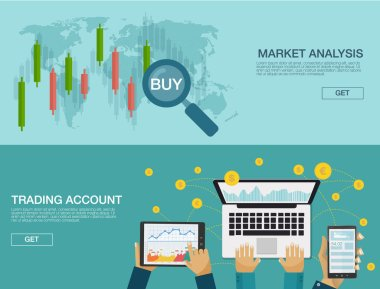 Vector illustration. Flat background. Market trade. Trading platform and account. Moneymaking,business. Market analysis. Investing.