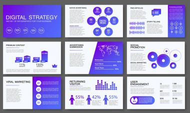 Big infographics in modern gradient style. Vector illustrations about digital projects, management, clients brief, design and communication. Use in website, corporate report, presentation, advertising, marketing