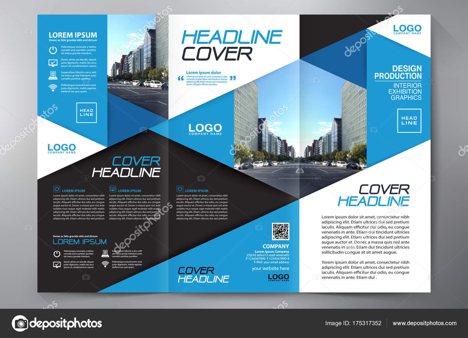 Brochure 3 fold flyer design a4 template  — Stock Vector