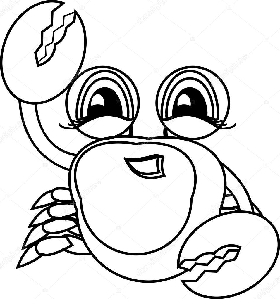 Boyama Kitabı El çekilmiş Deniz Hayvan Yengeç Stok Vektör
