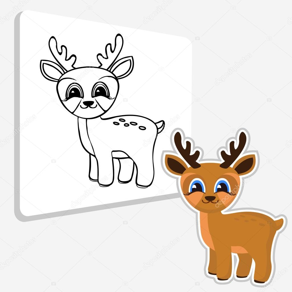 Ute Deer Coloring Page Stock Vector C Direnko Katti 125404816