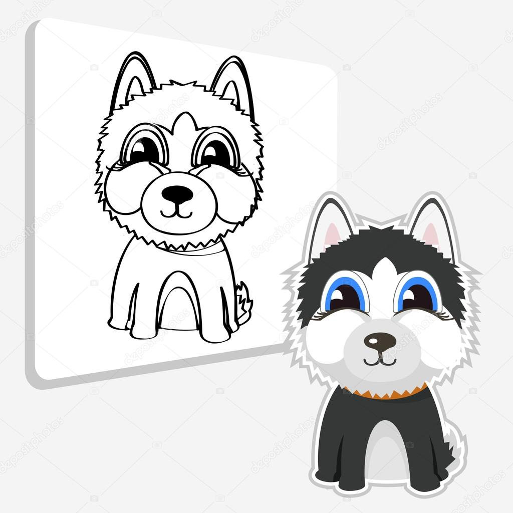 Dibujos animados divertidos husky siberiano — Vector de stock ...