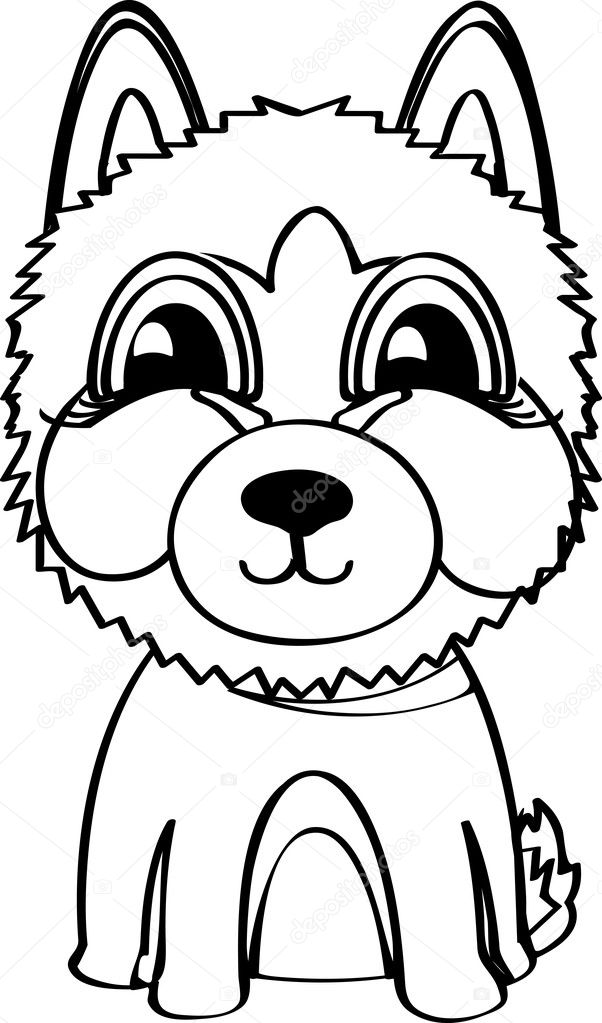 Husky siberiano. Ilustración de vector — Vector de stock © direnko ...