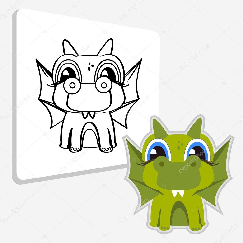 Boyama Kitabı Sayfası Dragon Stok Vektör Direnkokatti 125404850
