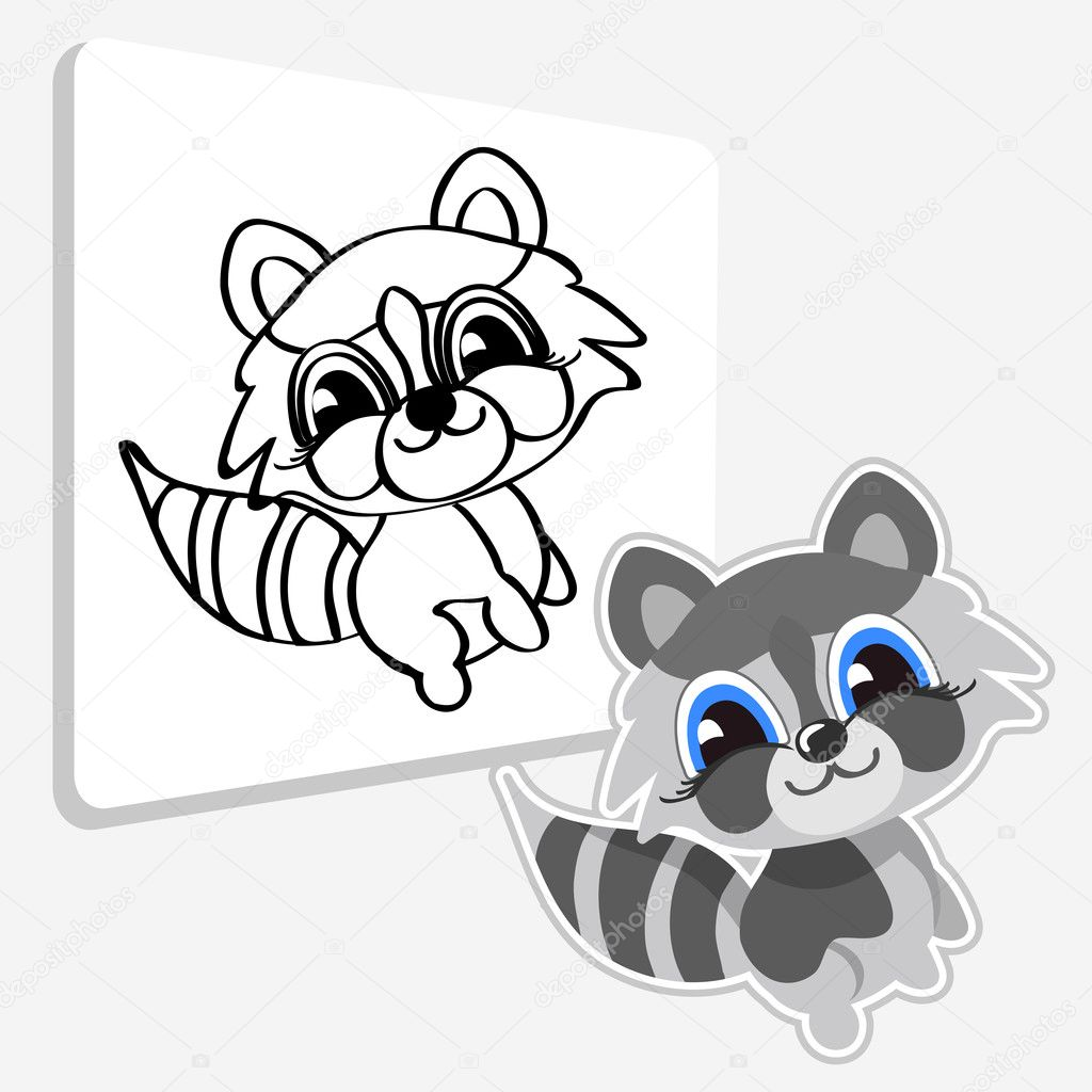 Смешные енот мультфильм Пэт — Векторное изображение ...