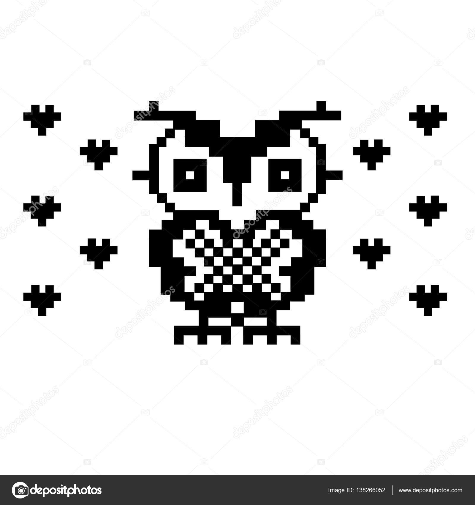 Belle Chouette Et Coeurs Modèle D Oiseau Pixel Art Image