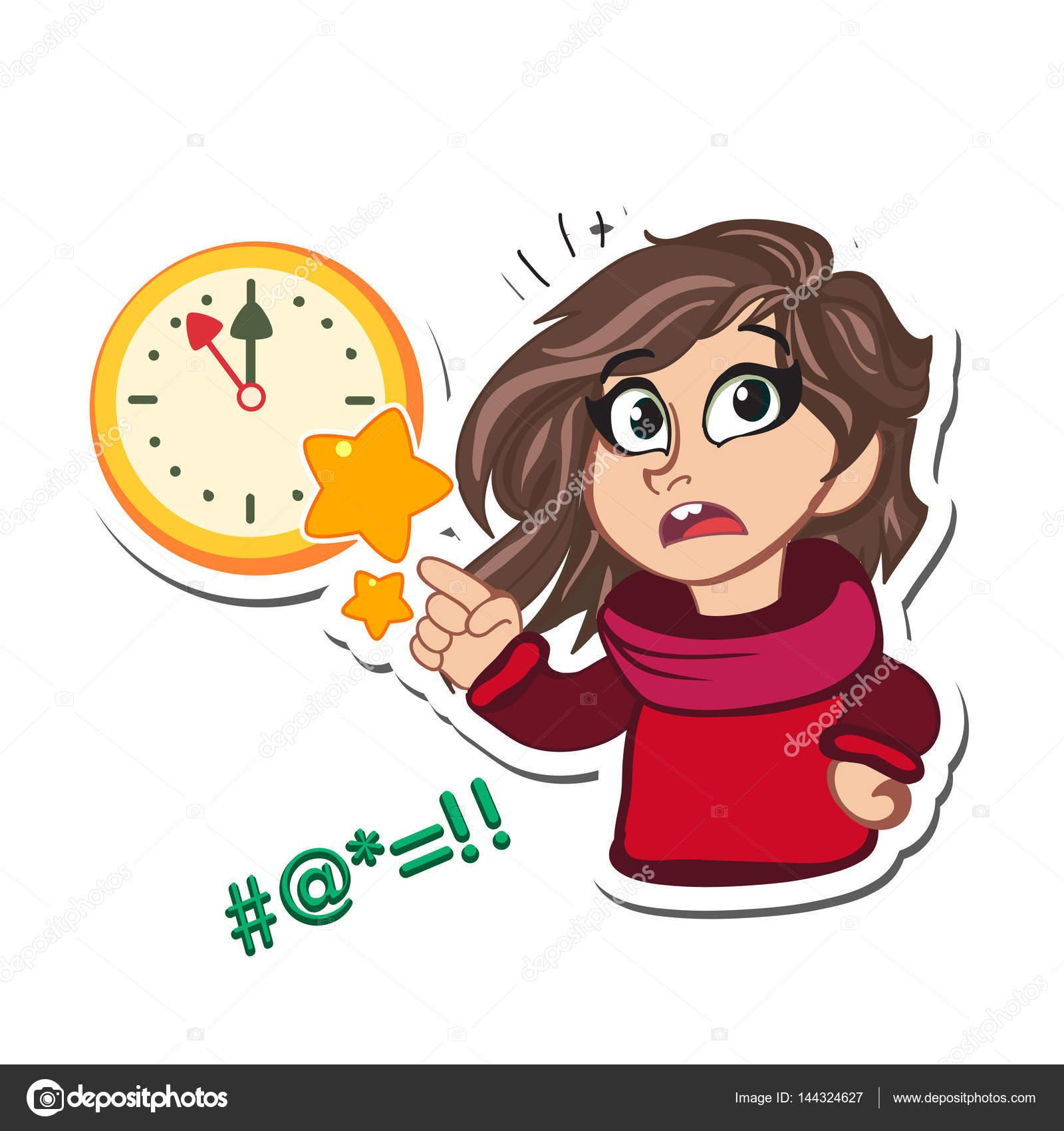 壁掛け時計とかわいい小さな女の子不思議漫画のキャラクター