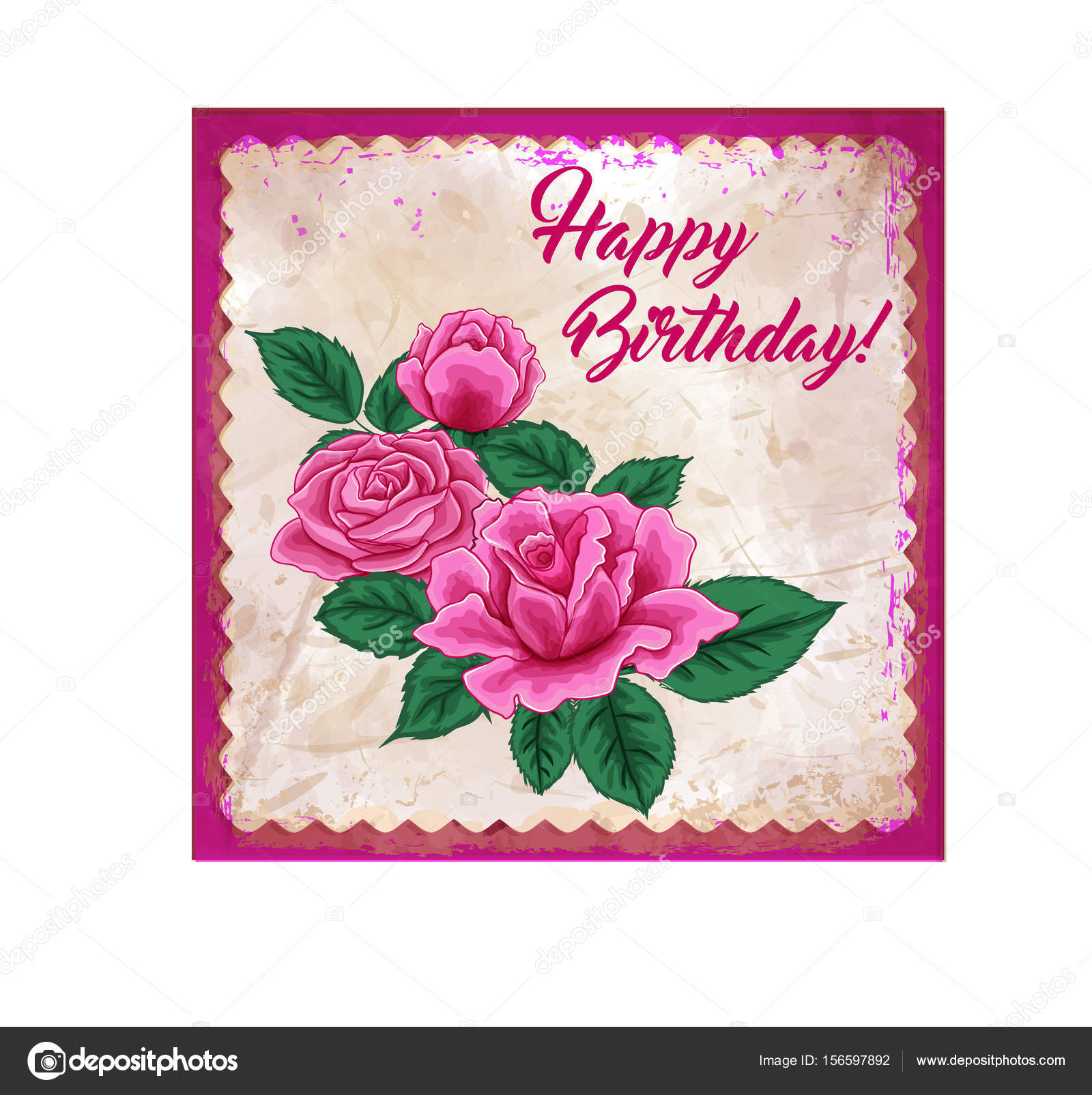 Happy Birthday Greeeting Card Roses Stock Vector