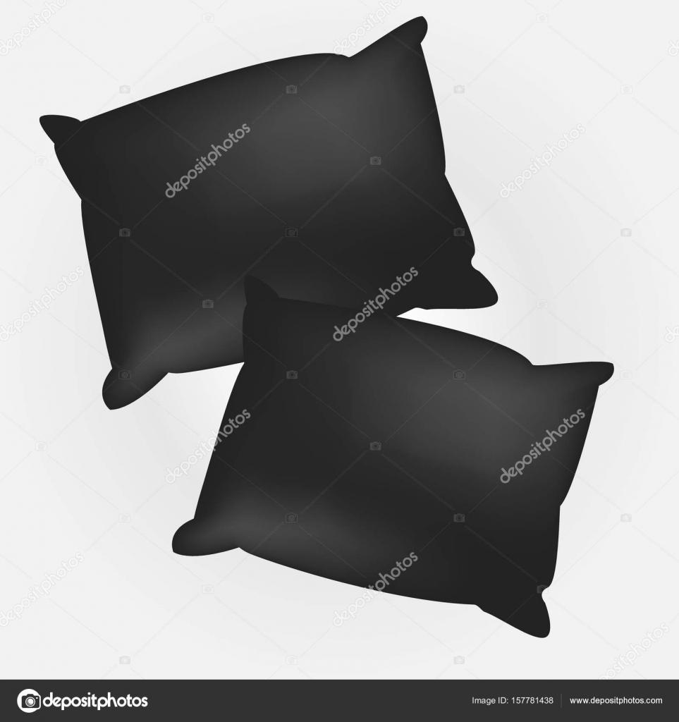 Leere schwarze quadratische Kissen. Vorlage für Ihr design ...