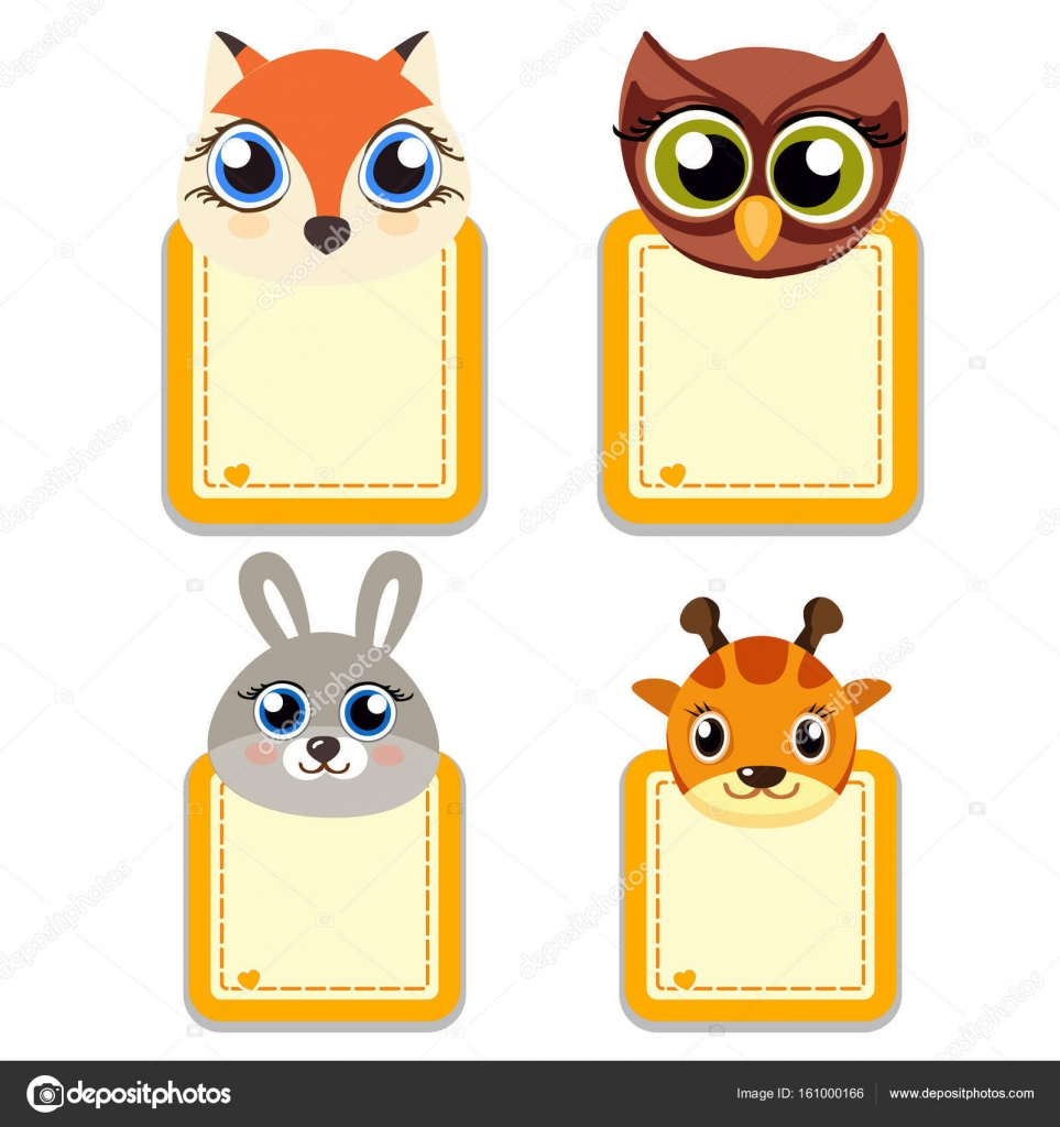Funny muzzle of animals with frames for your text or photo. Cartoon ...