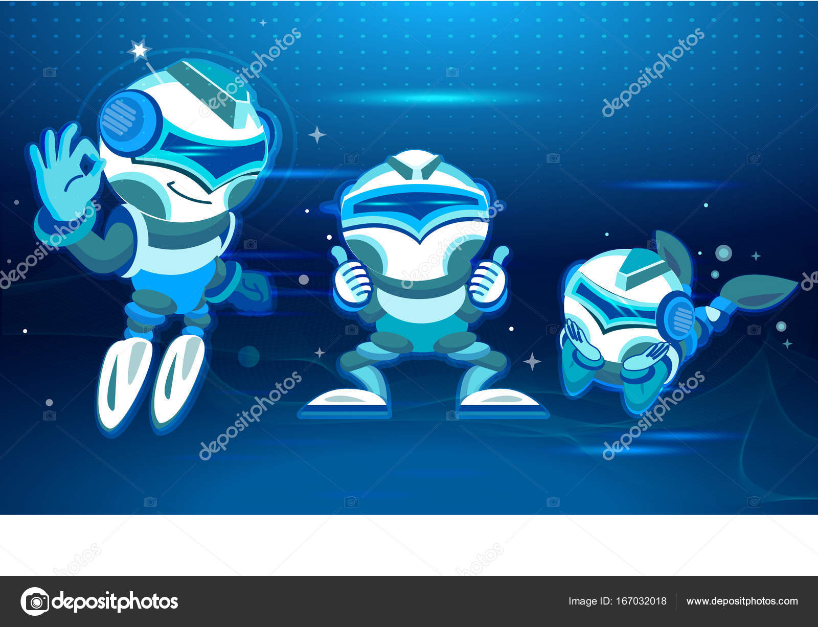 Five Chatbots In Different Poses And Moods. Digital Design In Cartoon  Style. Blue Tone Design Inspirations