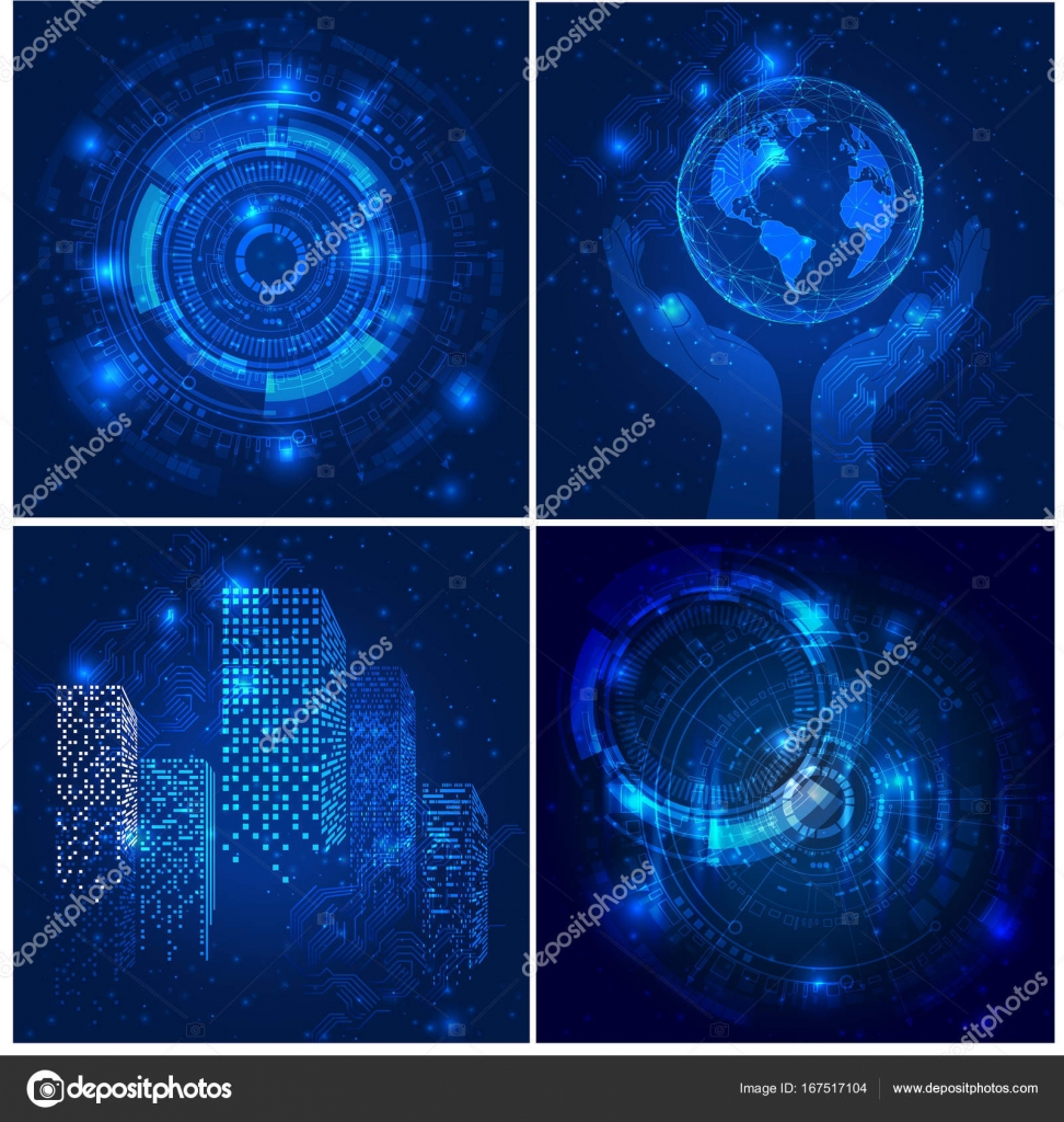 Vector Abstract Futuristic Posters Illustration High Computer Technology Dark Blue Color Background Stock