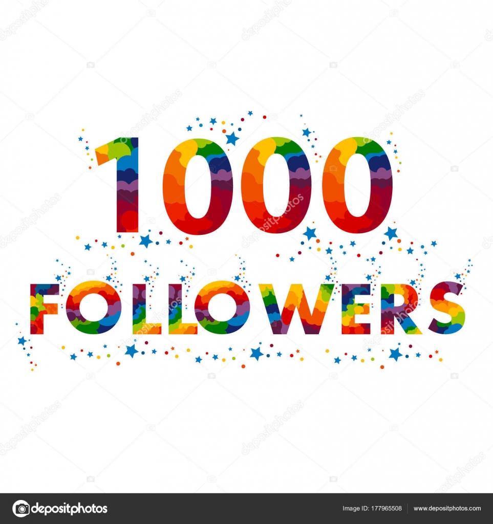 Tarjeta de vector 1000 seguidores. plantilla de diseño para la red ...