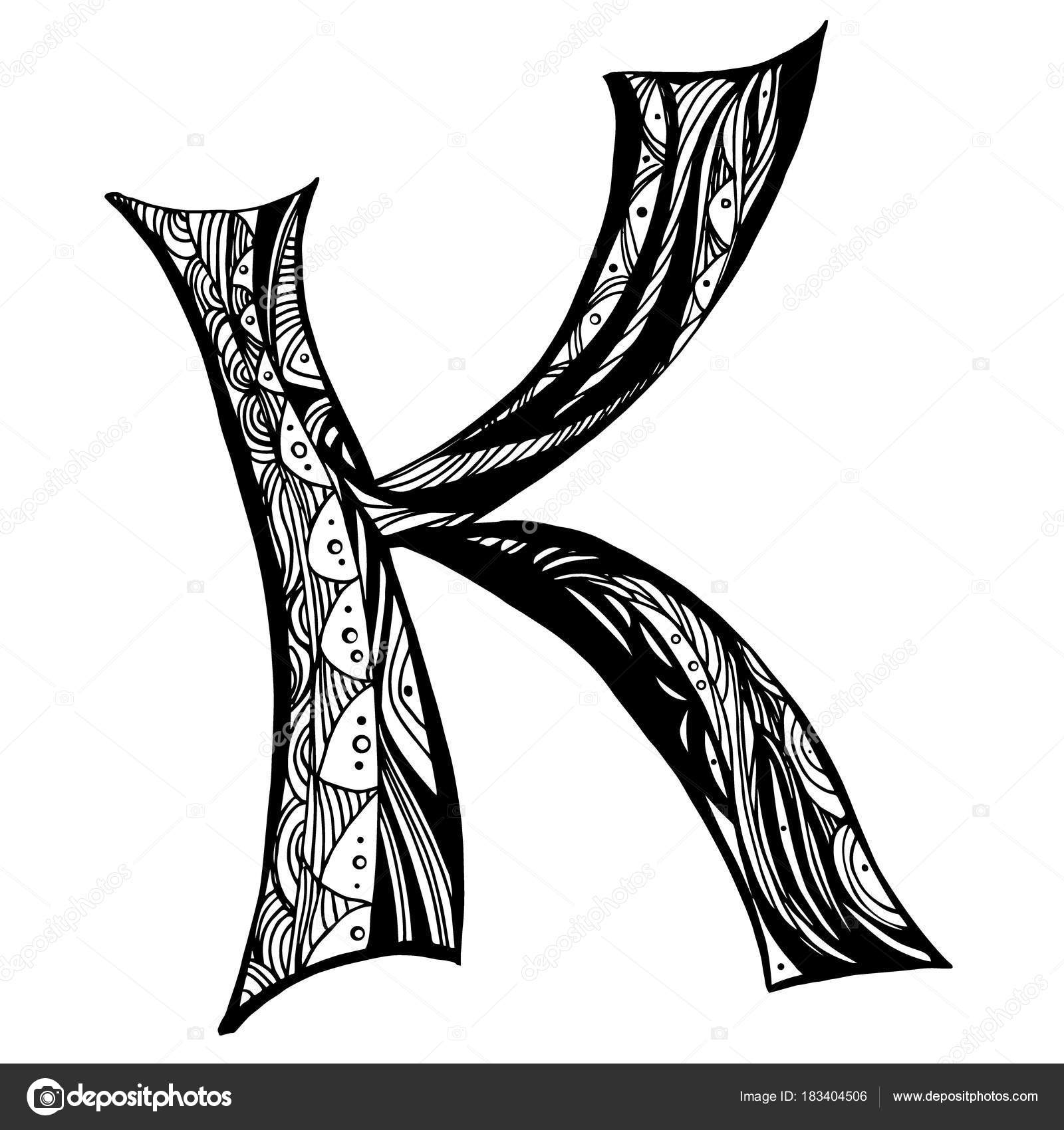 Zentangle Stylized Alphabet Letter K In Doodle Style Hand Drawn
