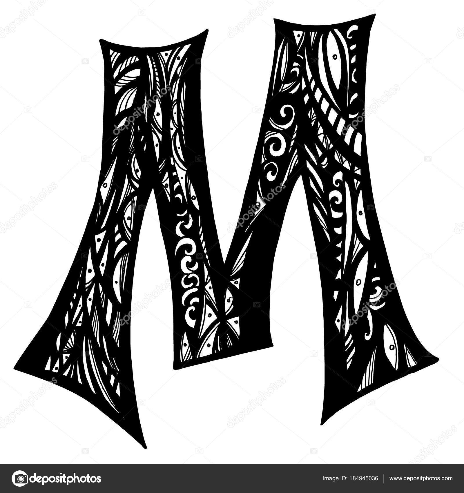 Elegant Capital Letter M In The Style Of The Doodle Stock Vector