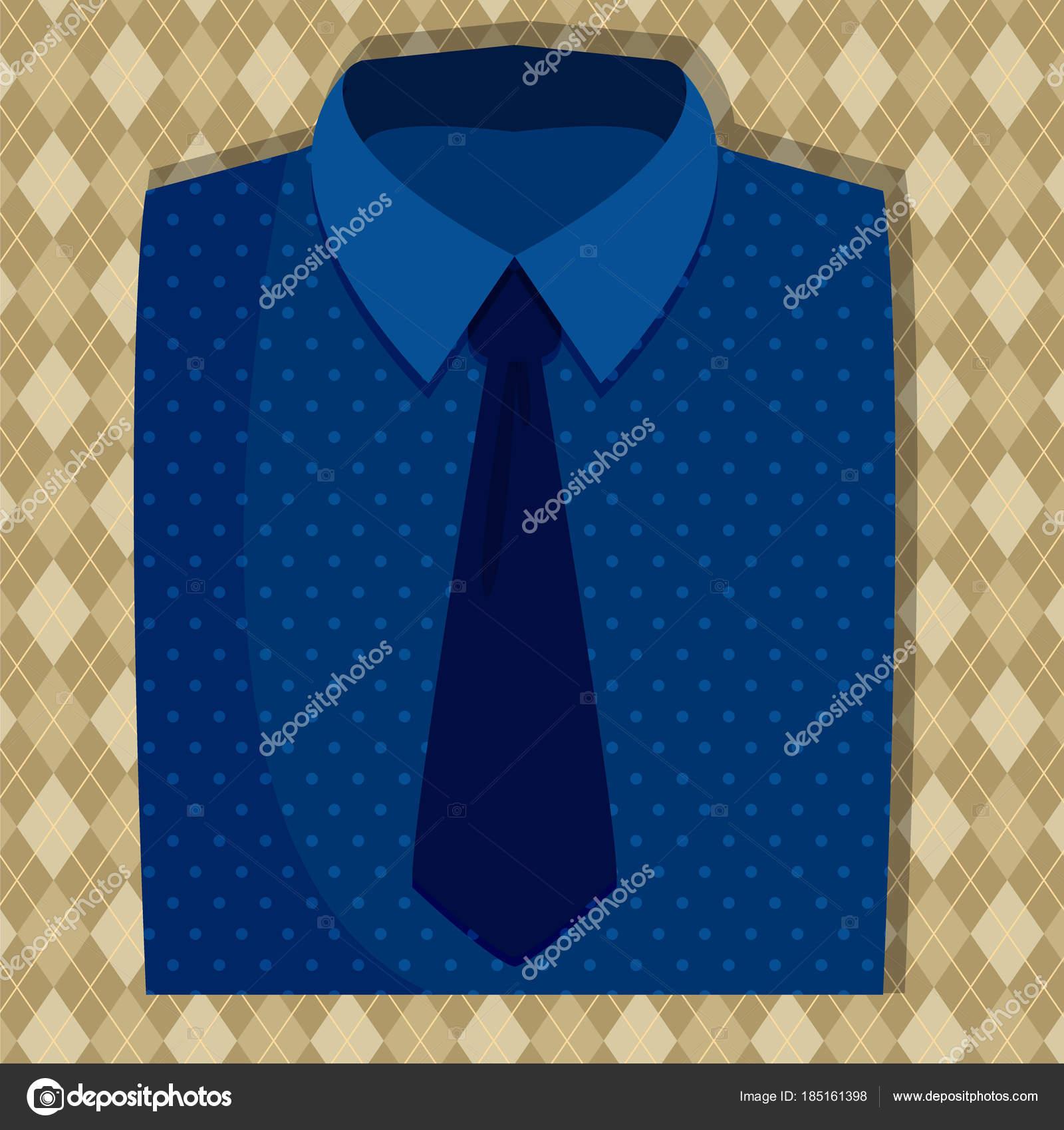 Het Overhemd.Blauwe Kleur Van Het Overhemd En Stropdas Stockvector C Direnko