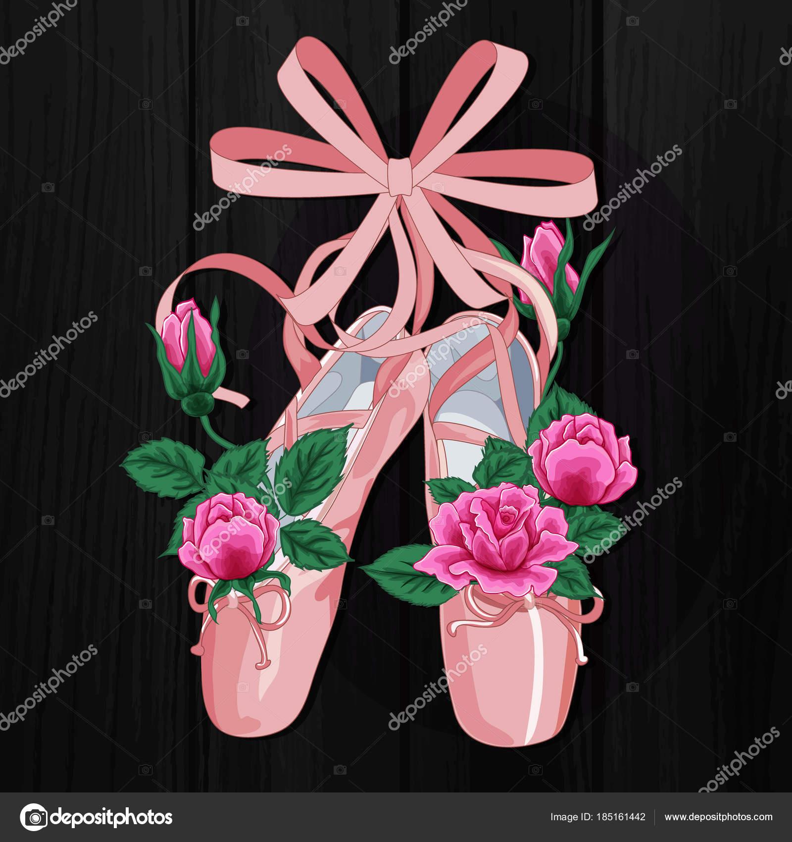 ab74372286b Ženské baletní střevíčky s růžové růže růžové pointes plochá konstrukce na  černém pozadí — Stockový vektor