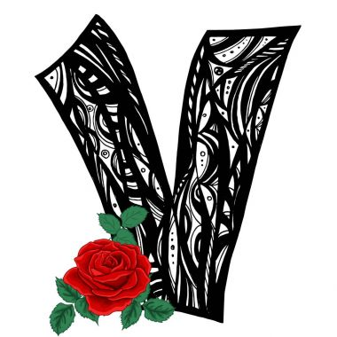 Letter V and Rose, beauty and fashion logo