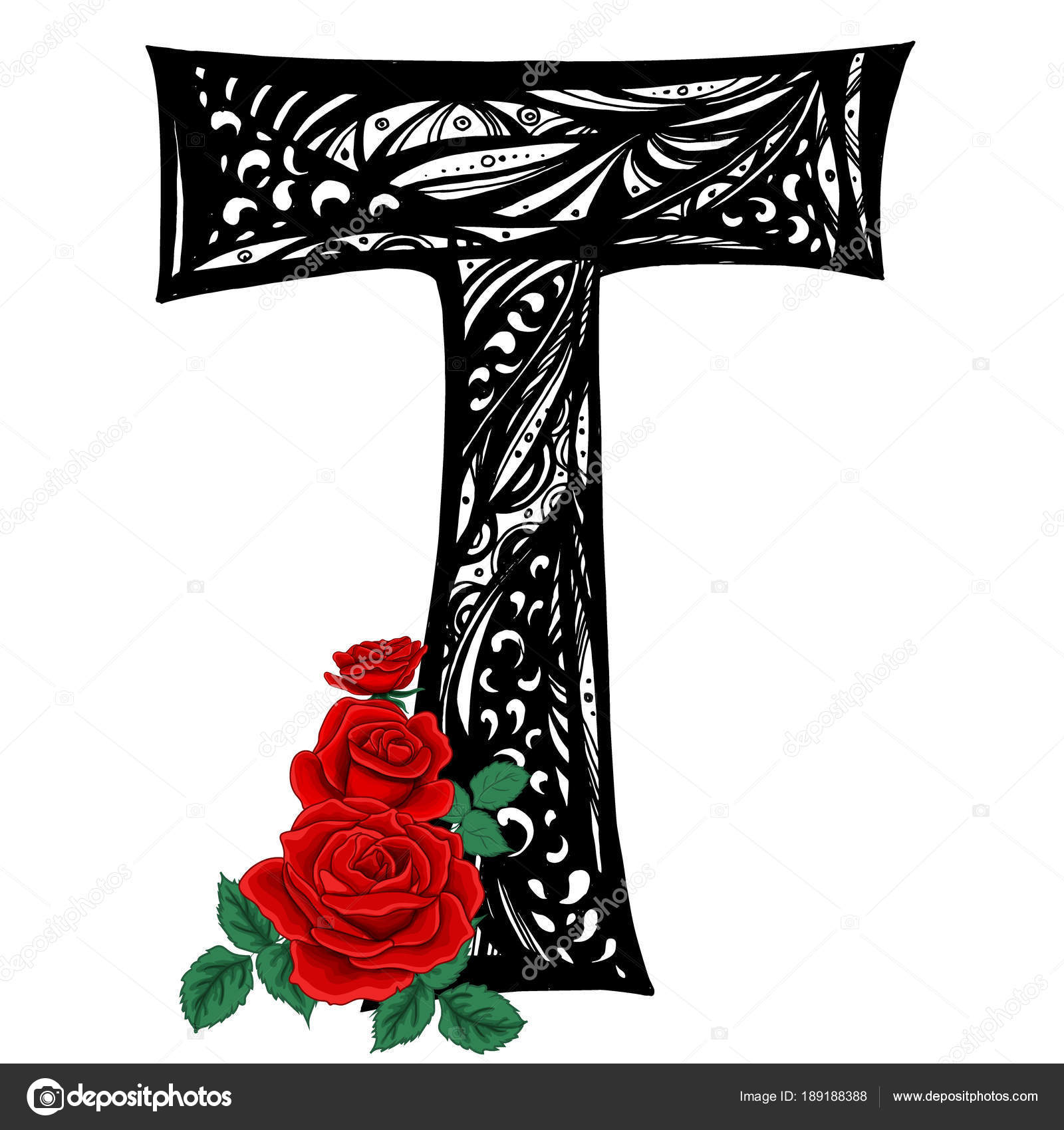 Capital Letter T With Red Roses In Vector Doodle Style Floral Alphabet By Direnkokatti
