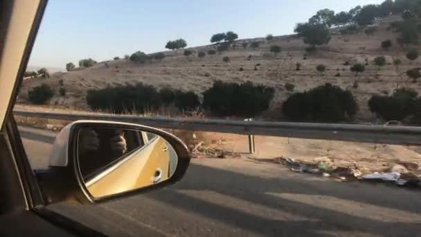 Irbid, Jordan - Car view of the surrounding mountain track part 3