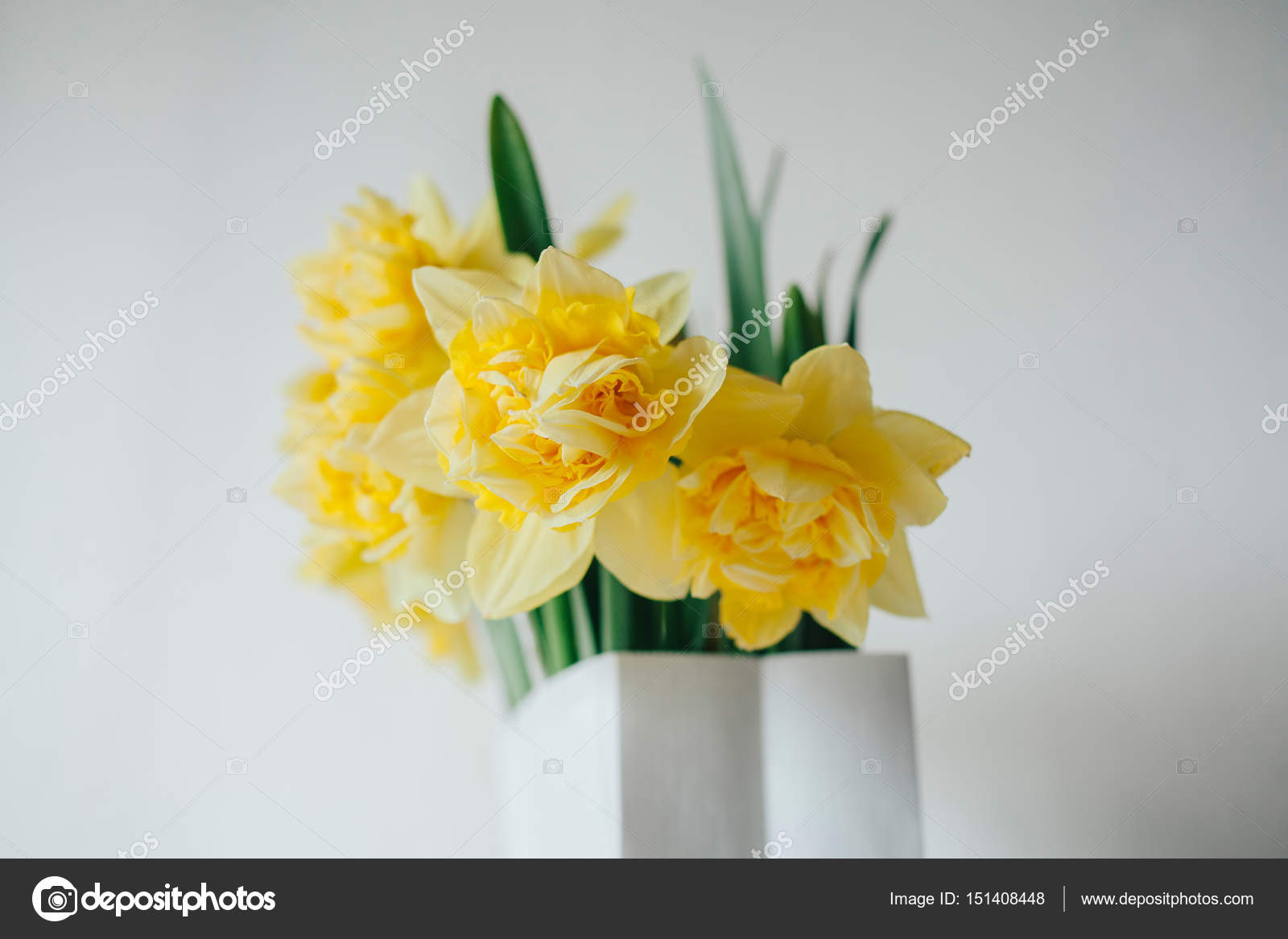 Bouquet Of Narcissus In Paper Bag Flower Delivery Spring Yellow