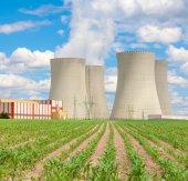 Nuclear power plant Temelin in Czech Republic Europe, corn field