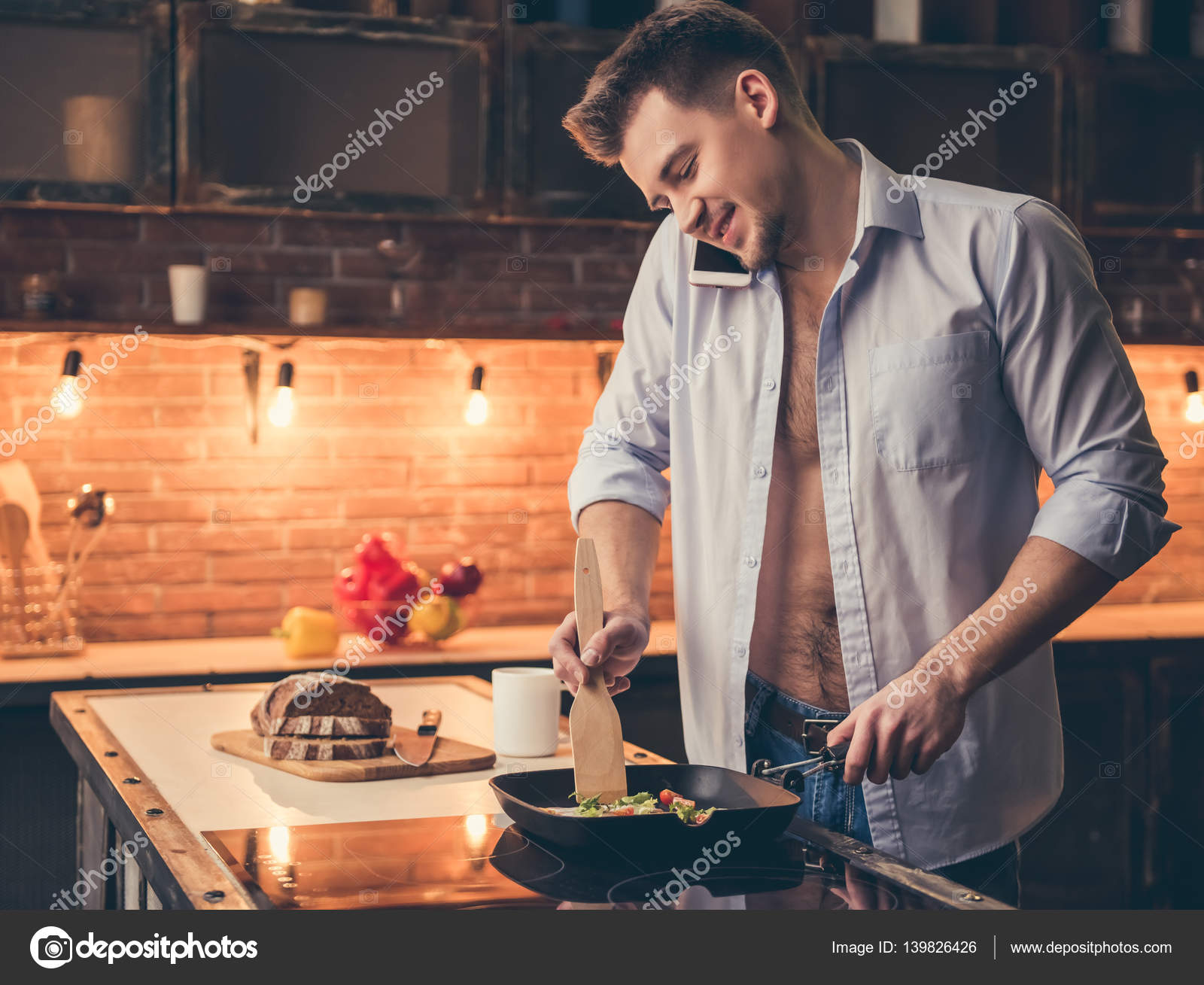 Sexy guy cooking