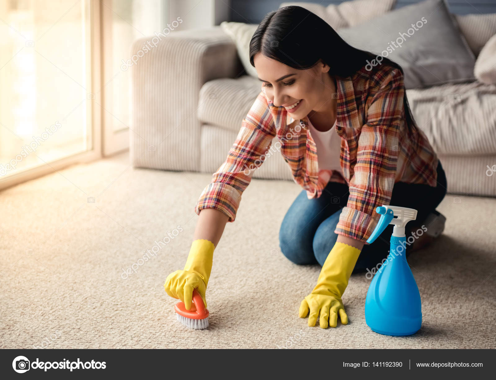Rather Young girl cleaning house assure you