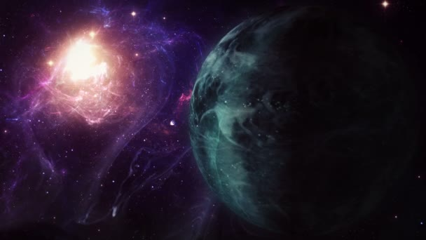Exoplaneta průzkum - Fantasy a surrealistická krajina, s mlhovinou v pozadí.