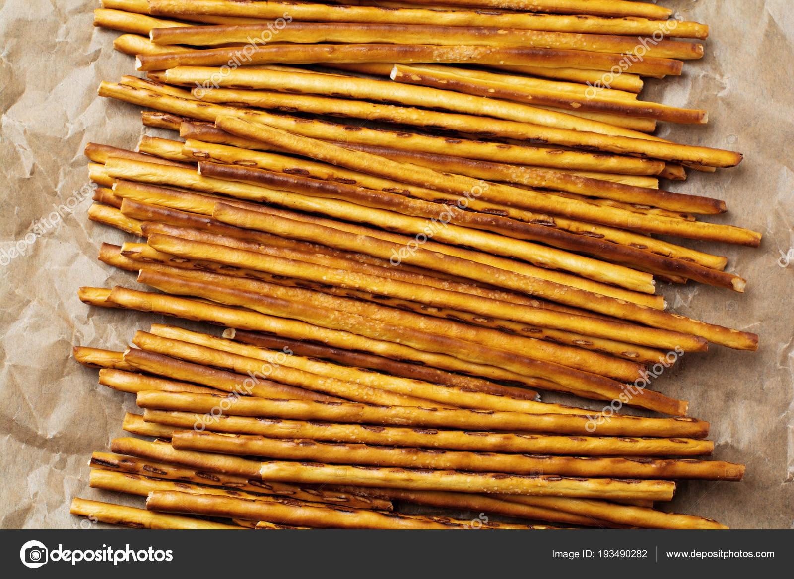 Salted Bread Sticks Long Crunchy Salty Pretzel Parchment Paper Stock Photo